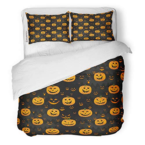Tarolo Bedding Duvet Cover Set Abstract for Girls Boys Kids Halloween Creative Pumpkin Scary Face Funny and Colorful Bright 3 Piece Queen 90
