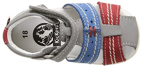 Kickers Bigbazar - Zapatos de primeros pasos Bebé-Niñas Gris - Gris (Gris Clair/Bleu/Rouge)
