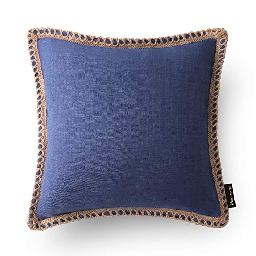 Phantoscope Farmhouse Burlap Linen Trimmed Tailored Edges Throw Pillow Case Cushion Covers Navy Blue 22