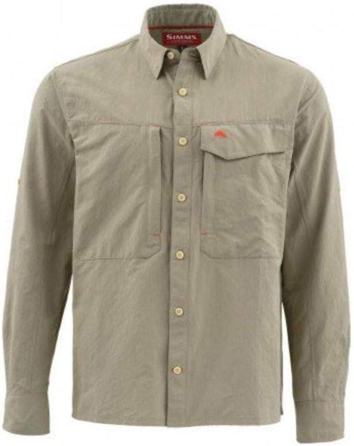 Simms Guide LS Camisa Solid Dark Khaki (mediano): Amazon.es ...