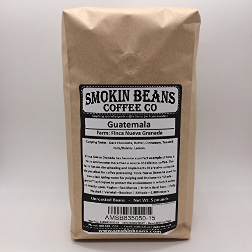5 LBS – GUATEMALA (no burlap bag) FRESH NEW-CROP - Specialty-Grade Green Unroasted Coffee Beans – CENTRAL AMERICA – Varietal Bourbon – Is Perfect Example of Sustainable Farming Practices – Shade-Grown by Smokin Beans