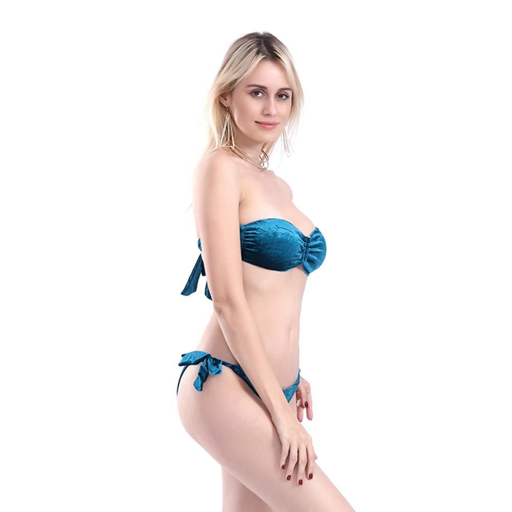 7d4703a2b7 Amazon.com : LuYi-Ww 2019 New Bikini European and American Split Solid  Color Velvet Tube Top, Three Colors Optional : Sports & Outdoors