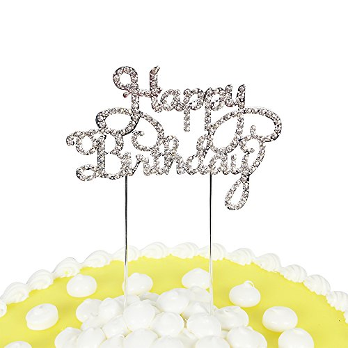 PALASASA Happy Birthday Cake Topper, Crystal Rhinestones on Silver Metal, Party (29 Halloween Cakes)