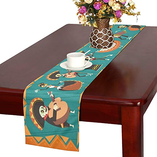 - WUTMVING Day Dead Traditional Mexican Halloween Dia Table Runner, Kitchen Dining Table Runner 16 X 72 Inch for Dinner Parties, Events, Decor