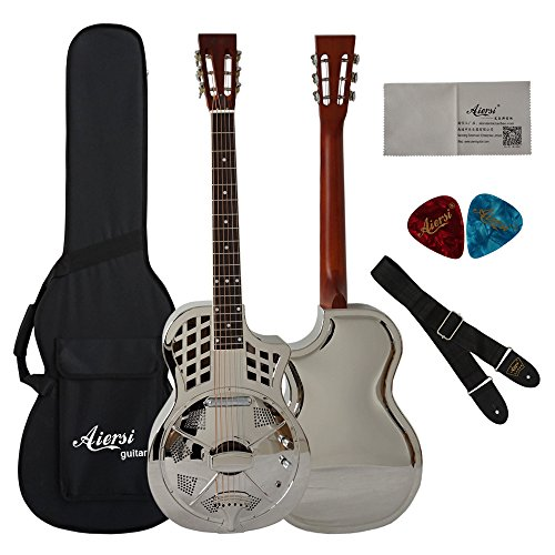 Cutway Silver Gloss Brass Body Travel Electrical Parlour Resonator Guitar With Case,Strap,Picks
