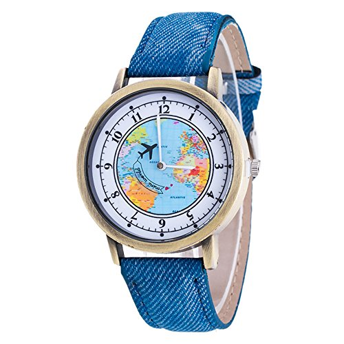 Denim Womens Watch (Womens Map Watch,COOKI Unique Quartz Analog Fashion Clearance Lady Watches Female watches on Sale Casual Wrist Watches for Women,Round Dial Case Comfortable Denim Watch-H55 (Blue))