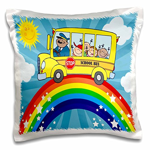 3dRose School bus rainbow art cute bus riding atop a rainbow in the sunshine - Pillow Case, 16 by 16-inch (pc_128851_1) (Bus School Pillow)