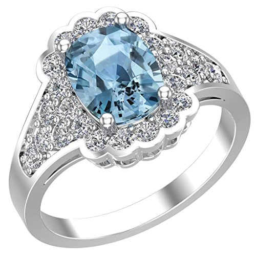 Belinda Jewelz 925 Solid Real Sterling Silver Cushion Cut Gemstone Round Diamond Rhodium Prong Engagement Wedding Classic Womens Fine Jewelry Twisted Band Ring, Blue Topaz and White Topaz, Size 9