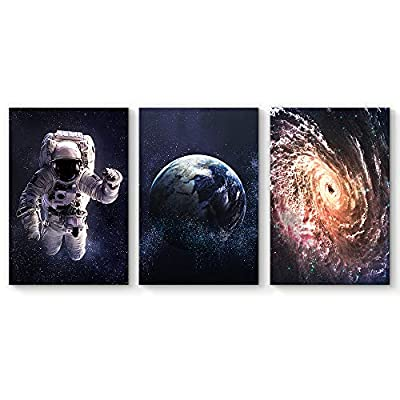 Created Just For You, Charming Technique, 3 Panel Exploring Outer Space Kids Painting Wall Decor for Living Room Framed x 3 Panels