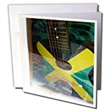 "Image Of Jamaican Guitar Painted In Flag Colors Greeting Card is a great way to say ""thank you"" or to acknowledge any occasion. These blank cards are made of heavy-duty card stock that allows for smudge free writing. Cards are creased for eas..."