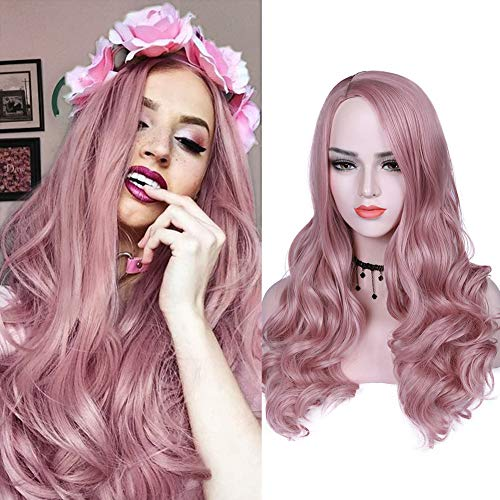 WIGNEE Mixed Pink Long Wavy Wigs Heat Resistant Synthetic Hair Side Part Full Wigs for Women Curly Party Wigs(Mixed Pink) ()