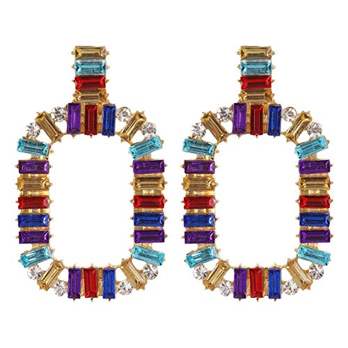 Colorful Rhinestone Square Hoop Earrings Hollow Circle Crystal Earrings Dangle for Women Girls Jewelry Gifts