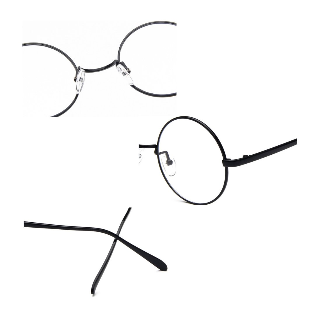Fulision Male Female Circular myopia Glasses frame Fine Frame Retro Glasses by Fulision (Image #3)