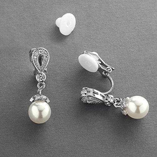 Mariell Vintage CZ and Ivory Pearl Drop Clip On Wedding Earrings for Brides - Genuine Platinum Plated