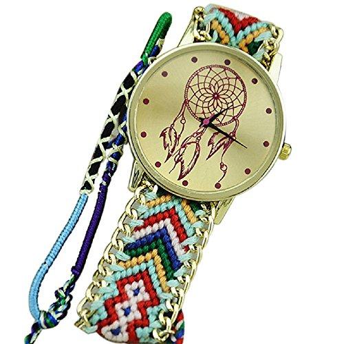 Bolayu New Women Friendship Dreamcatcher Bracelet Braid Dress Watches (Green+Black)