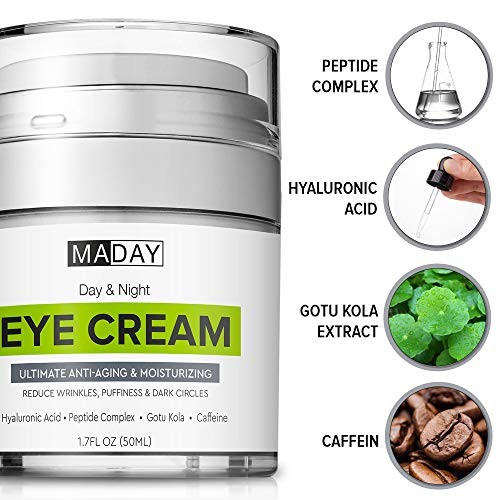 51J%2BiO1z9WL - Eye Cream - Reduce Dark Circles, Puffiness & Under Eye Bags - Effective Anti-Wrinkles Treatment - Anti-Aging Eye Gel with Hyaluronic Acid, Gotu Kola Extract, Caffeine - Refreshing Eye Serum