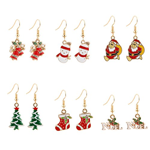 Miraculous Garden 6 Pairs Christmas Drop Dangle Earrings Jewelry Set for Thanksgiving (Gold)