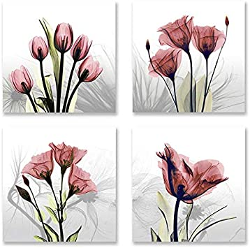 RED ABSTRACT FLOWER MODERN DESIGN WALL ART CANVAS PRINT PICTURE READY TO HANG