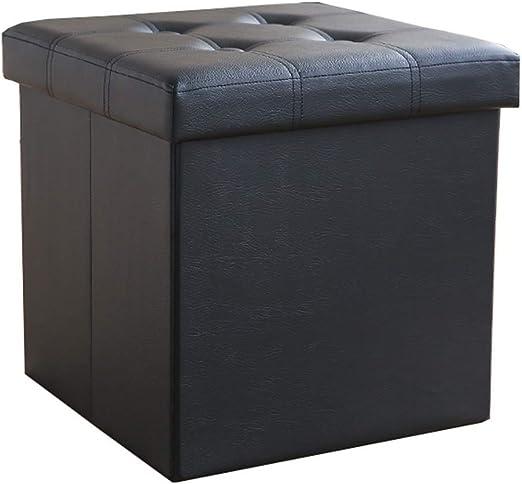 LJFYXZ Plegable Ottoman Banco de Zapatos Cuadrado Cuero de PU Fácil de Limpiar Plegable Caja de almacenaje Peso del rodamiento 120kg 38x38x38cm (16x16x16in) (Color : Negro): Amazon.es: Hogar