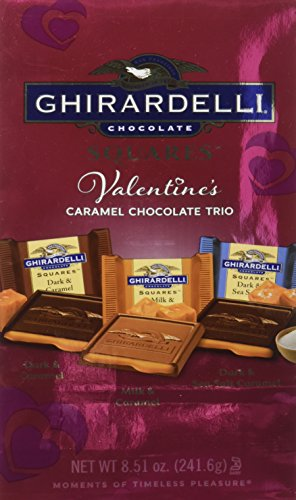 Ghirardelli Valentine's Chocolate Squares, Caramel Trio, 8.51-Ounce Packages (Pack of 3)