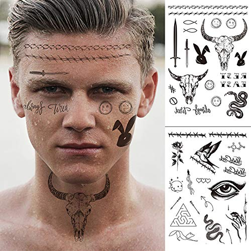 glaryyears 8 Sheets Large Black Temporary Tattoos, 50+ Designs for Halloween Day of the Dead Masquerade Party Makeup for Man Women Body Art Waterproof Sticker