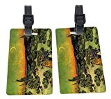Van Gogh Couple walking crescent moon Design Plastic Flexi Luggage Identifier Tags + Strap Closure