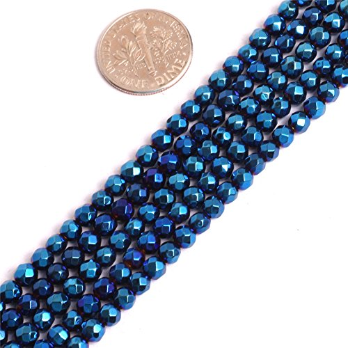 (Hematite Beads for Jewelry Making Gemstone Semi Precious 4mm Round Faceted Blue Metallic Coated 15
