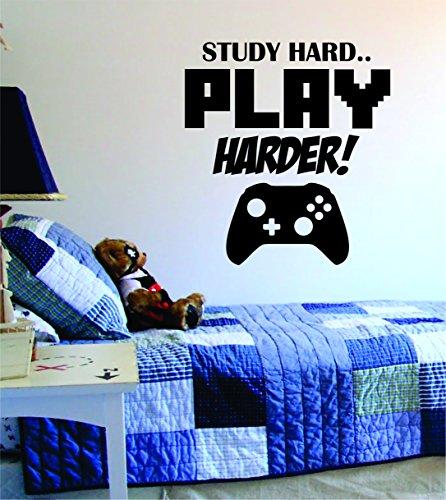 Study Hard Play Harder Decal Sticker Wall Vinyl Art Design