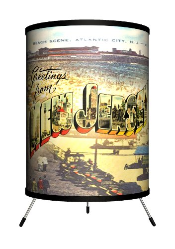 - Lamp-In-A-Box TRI-TRV-NEWJE Travel - New Jersey Postcard Tripod Lamp
