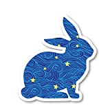 Bunny Sticker Blue Spirals and Stars Stickers - 2 Pack - Laptop Stickers - 2.5' Vinyl Decal - Laptop, Phone, Tablet Vinyl Decal Sticker (2 Pack) S81899