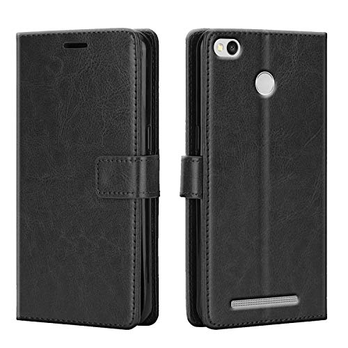 coverage lishen royal leather Flip Cover for mi redmi 3s prime   sterry black