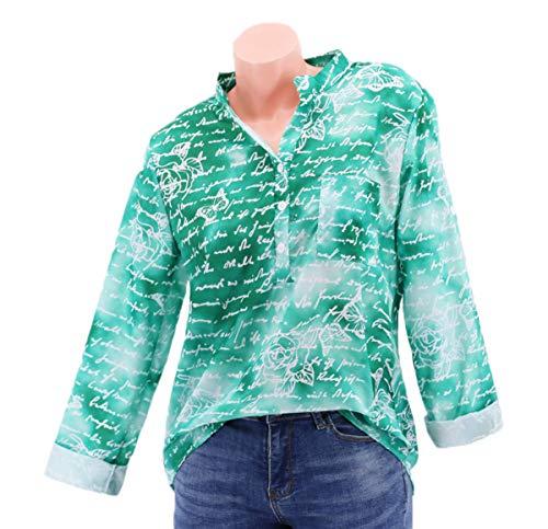 JackenLOVE Haut Fashion Chemisiers T Automne et Longues Tee Casual Printemps Shirts Imprime Manches Vert Femme Blouse Shirt Tops rwqIr1