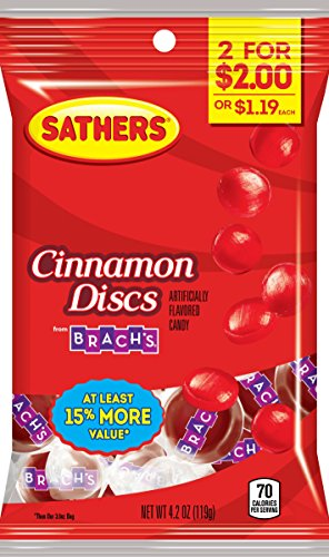 Sathers Discs Hard Candy, Cinnamon, 4.2 Ounce (Pack of (Red Hot Cinnamon Discs)