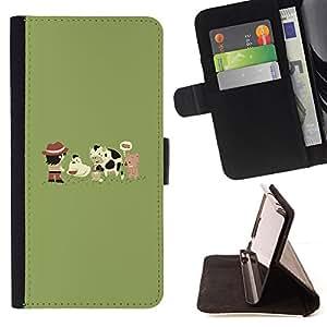 BullDog Case - FOR/Samsung ALPHA G850 / - / Funny Cute Farm Animals /- Monedero de cuero de la PU Llevar cubierta de la caja con el ID Credit Card Slots Flip funda de cuer