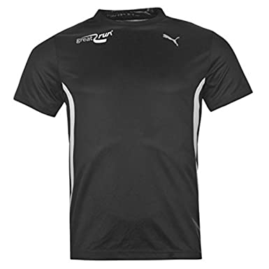 8df7562c1b2d Puma Mens Great Run Short Sleeved T Shirt Running Jogging Sport Activewear  Black White S  Amazon.co.uk  Clothing