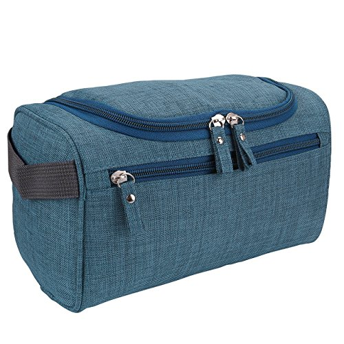 Men's Travel Toiletry Bag, CozyCabin Hanging Waterproof Travel Case Shaving & Makeup Accessories Organizer with Large Capacity - for Gym, Vacation, Business Trip (Frosted Navy) by CozyCabin