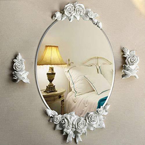 CJH European Bathroom Bathroom Resin Flower Mirror Waterproof Bathroom Mirror Wash Wall Mirror Dressing Mirror White