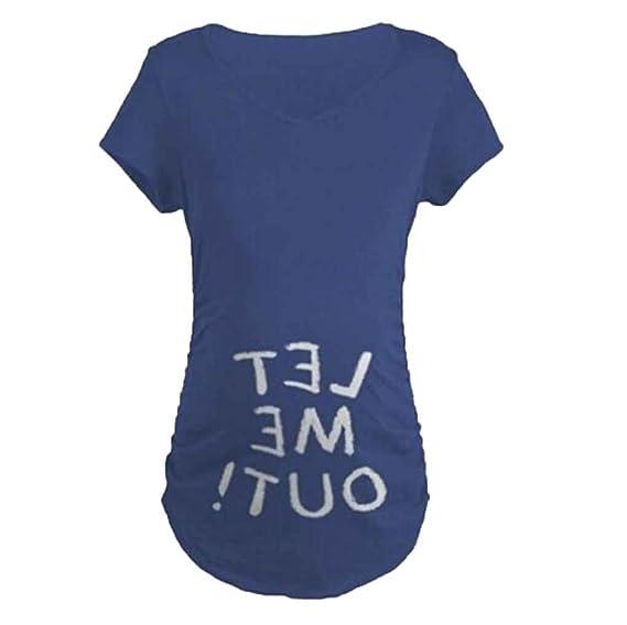 Mengonee Carta de Maternidad Embarazada Camisetas de Algodón Impresas Ropa de Embarazo Suave para Mujeres Marternity Camiseta: Amazon.es: Ropa y accesorios