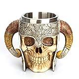 Homyl 3D Skeleton Knight Skull Stainless Steel Horn Tankard Helmet Cup,18oz