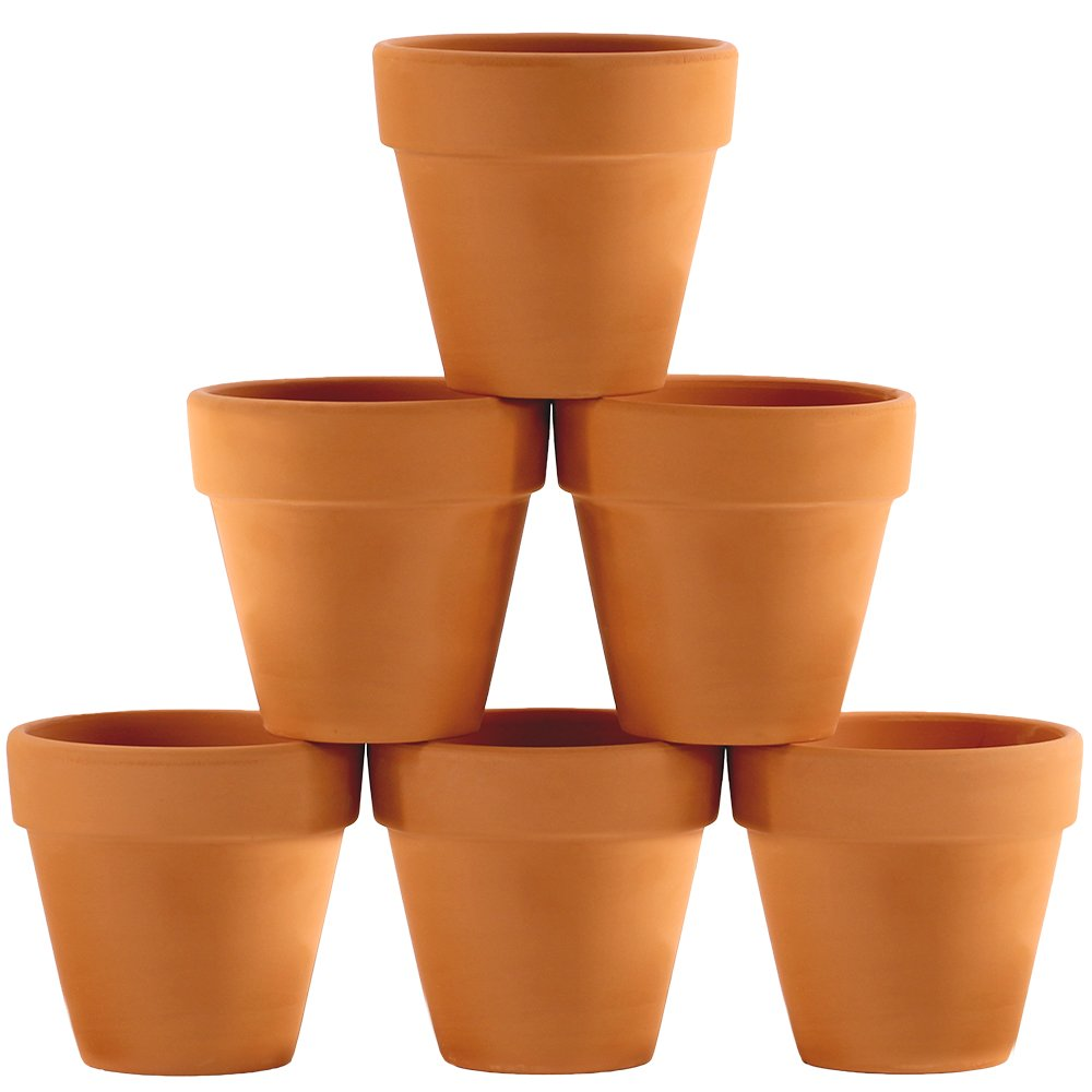 Winlyn 6 Pcs Terracotta Pot Clay Pots 4'' Clay Ceramic Pottery Planter Cactus Flower Pots Succulent Pot Drainage Hole- Great for Plants,Crafts,Wedding Favor Indoor/Outdoor Plant Crafts by Winlyn