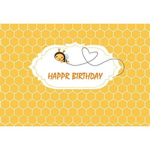 Yeele 10x8ft Happy Birthday Photography Background Cartoon Little Flight Bee Yellow Honeycomb Birthday Party Decoration Girl Boy Child Photo Backdrop Portrait Studio Props