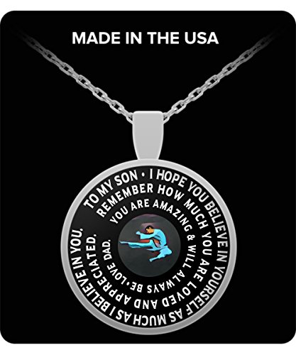 Taekwondo Necklace - Silver Chain Pendant – To My Son - Gift From Dad - Inspirational Charm