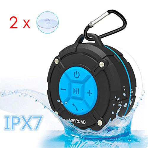 [Updated Version] Portable Shower Speaker,TOPROAD IPX7 Waterproof Wireless Outdoor Speaker with HD Sound,2 Suction Cups,Built-in Mic,Hands-Free Speakerphone for Bathroom, Pool, Beach, Hiking, Bicycle