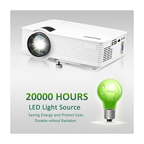 Portable 7000 Lumens 3D LED HD 1080p Projector Home Cinema HDMI USB SD VGA Audio from Unknown