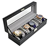 6 Slots Watch box Watch Case Mens Lockable Watch Holder PU Leather Jewelry Organization Case Glass Top