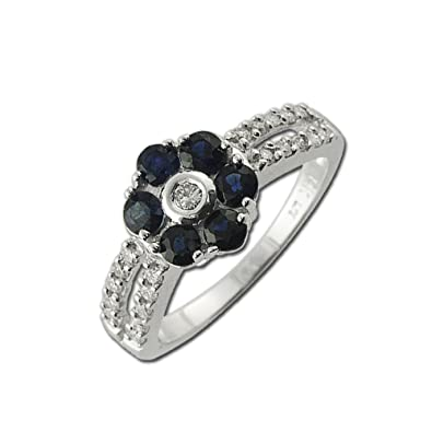 Oval Blue Sapphire Round Diamond Solitaire Ring I1 H 0.30ct Prong Set Solid Gold Fine Rings Engagement & Wedding