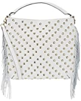 Rebecca Minkoff Studded White Leather Fringe Clark Hobo