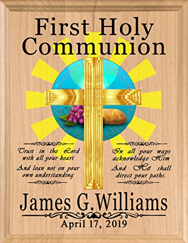 Communion Girl Plaque - Broad Bay First Communion Gift Personalized 1st Holy Communion Plaque - Boys or Girls