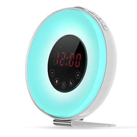 MOXIN Wake Up Light, Luces Despertador, Despertar Luz Alarma Despertador Reloj Digital Con Nocturna