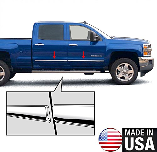Made in USA! Works with 2014-2018 Chevrolet/GMC Silverado/Sierra Crew Cab Body Side Molding Trim 1 1/8'' 4PC Overlay